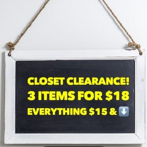 Clearance!! 3 items for $18 bundles